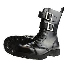Boots and Braces 10-Loch 2 Schnallen Stiefel Buckles Gothic Rangers schwarz Neu