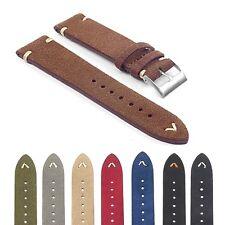 StrapsCo st15 Suede Vintage Style Watch Band Strap w/ Minimal Hand Stitching