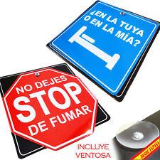 LETRERO METALICO CON VENTOSA STOP NO FUMAR BROMA EN TU CAMA VENTOSA INCLUIDA