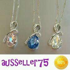 Swarovski Crystal tear drop necklace 18k white gold filled stunning gift elegant