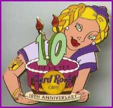 "Hard Rock Cafe BERLIN 2002 10th Anniversary PIN Waitress Cake ""10"" - HRC #12521"