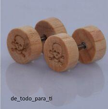 PENDIENTES MADERA CALAVERA(1 CM.) BOTON(1 CM.) YIN YANG(0,8 CM.) . FAKE PLUG