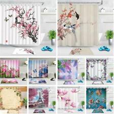 Spring Flower Shower Curtain Set & Hooks Japanese Cherry Blossom Bathroom Decor