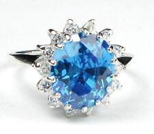 • R283, 12x10mm, Swiss Blue CZ, 10k White Gold Ladies Ring -Handmade