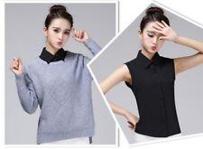 Lady Fake False Collar Chiffon Detachable Sleeveless Shirt Blouse Bib Lapel New
