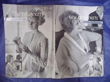 Vintage 50s-60s bedjackets knitting pattern 3 ply yarn