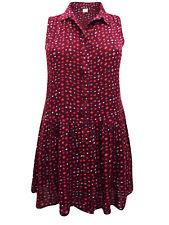 Boysens Burgundy Sleeveless Printed Tunic Shirt Dress With Pockets 18 20 24