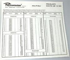 Rivarossi Atlas échelle N Liste des prix 1971 å