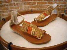 Matt Bernson Tan Suede Fringe Mini Wedge Sandals New