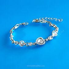 Adjustable Chain Bracelet, Diamond Sapphire Silver Blue Topaz Crystal Heart