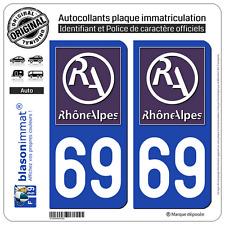 2 Stickers autocollant plaque immatriculation : 69 Rhone Alpes LogoType II