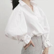 Lady Puff Sleeve Shirt Cotton Button Bubble Fashion White Work Retro Blouse Top