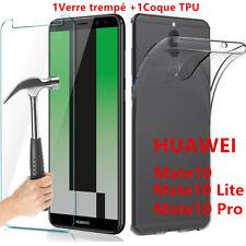 Housse Silicone Coque +Film Verre Trempé Protection pour HUAWEI Mate 10/Lite/Pro