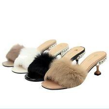 Womens Party Stiletto Elegant Fur Cover Heels Slippers Rhinestone Open Toe Shoes