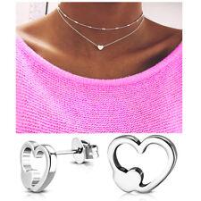 Doppel Kette Damen Halskette silber gold Herz 2er Blogger kurz eng Statement Set