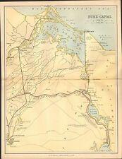 1868 PRINT MAP ~ SUEZ CANAL CAIRO MANSURAH ZAGAZIG ISMAILIA