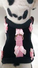 Softgeschirr  Brustgeschirr Hundegeschirr Halsband XS-M schwarz rosa Schleife