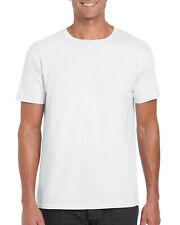 HOMMES BLANC GILDAN Uni Coton MASSE Uni T-shirt haut 100% Bitord COTON LOT