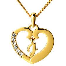 Corazón Amor Collar Con Nombre Colgante 'J' 18 ct Chapado En Oro Boda