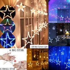 138LEDs 12 Stars String Fairy Curtain Lights Christmas Wedding Party Home Decor