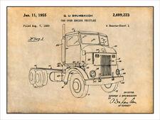 1950 Peterbuilt Cab Over Diesel Semi Truck Patent Print Art Drawing 18 X 24