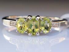 Beautiful Natural 0.56ct 3 Gemstone Peridot Diamond Sterling Silver Ring