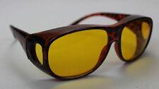 Nachtsichtbrille Überzieh Nachtfahrbrille Leopard Brillenträger gelbe Gläser