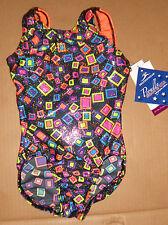 NWT Motionwear Gymnastic Leotard Black foil hologram Orange straps child sizes