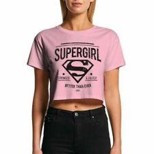 Femmes Supergirl Stronger Plus Rapide Court Rose T-Shirt - Rétro Dc Comics Haut