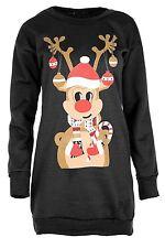 New Ladies Candy Stick Reindeer Scarf Thermal Fleece Winter Sweatshirt Tops 8-22