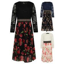 Girls Maxi Dress Kids Floral Long Sleeve Holiday Abaya Islamic Top Wedding Party