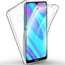 COVER per Huawei Y7 2019 CUSTODIA Fronte Retro 360 SILICONE SLIM TPU Trasparente