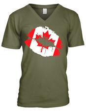 Canadian Flag Colors Canada Lipstick Kiss Country Team Ca Men's V-Neck T-Shirt