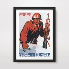 La Corée du Nord Corée Propagande Poster Art Print RPDC rouge soldat militaire Jong Un