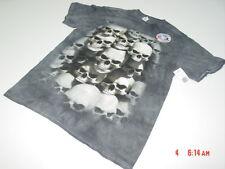 NWT MENS Halloween Themed T Shirt Skull Pile Skeleton Tie Dyed Black Grays Gross