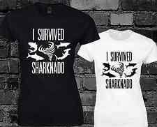 He sobrevivido Sharknado señoras T Shirt Cinematográfico De Culto De Ciencia Ficción Funny impresión Lema