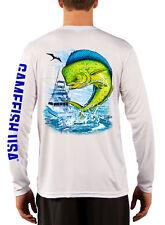 Men's UPF 50 Long Sleeve Microfiber Performance Fishing Shirt Mahi