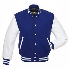 Stewart & Strauss Royal Blue Wool & White Leather Varsity Letterman Jacket New