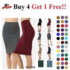 High Waisted Womens Pencil Office Skirt Cotton Stretch Knee Length REG PLUS S-3X
