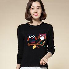 Women/Lady Asymmetric Owl Bird Tree Sweater Jumper Loose Top Knit Pullover Chic