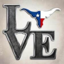 Texas Longhorn Love Decal Cowboy Dallas Lone Star Cattle Sticker