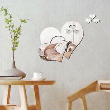 3d ESPEJO CORAZONES AMOR ADHESIVO de pared Bricolaje Sala Hogar