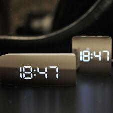 Digital LED Snooze Bedside Alarm Clock Temperature Night Light Mirror 4 Colours