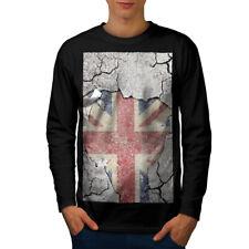 Impresión de la novedad Bandera Reino Unido Hombre Manga Larga T-shirt new | wellcoda