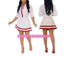 Women Sexy Two Piece Set V-Collar Chiffon Half Sleeve Blouses Shirt +Mini Skirt