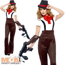 Glam Gangster Ladies Fancy Dress 20s Pinstripe Mafia Mob Adults Womens Costume