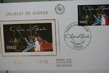ENVELOPPE PREMIER JOUR SOIE 1980 CHARLES DE GAULLE