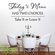 Todays menu a deux choix CITATION Autocollant Mural - Cuisine Vin X383
