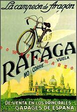 Cycles Rafaga 1930 Spanish Bicycle Advertising Vintage Poster Print Sports Decor