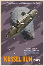 Star Wars Millennium Falcon Kessel Run 12 Parsecs Vintage Tourism Giclée Canvas